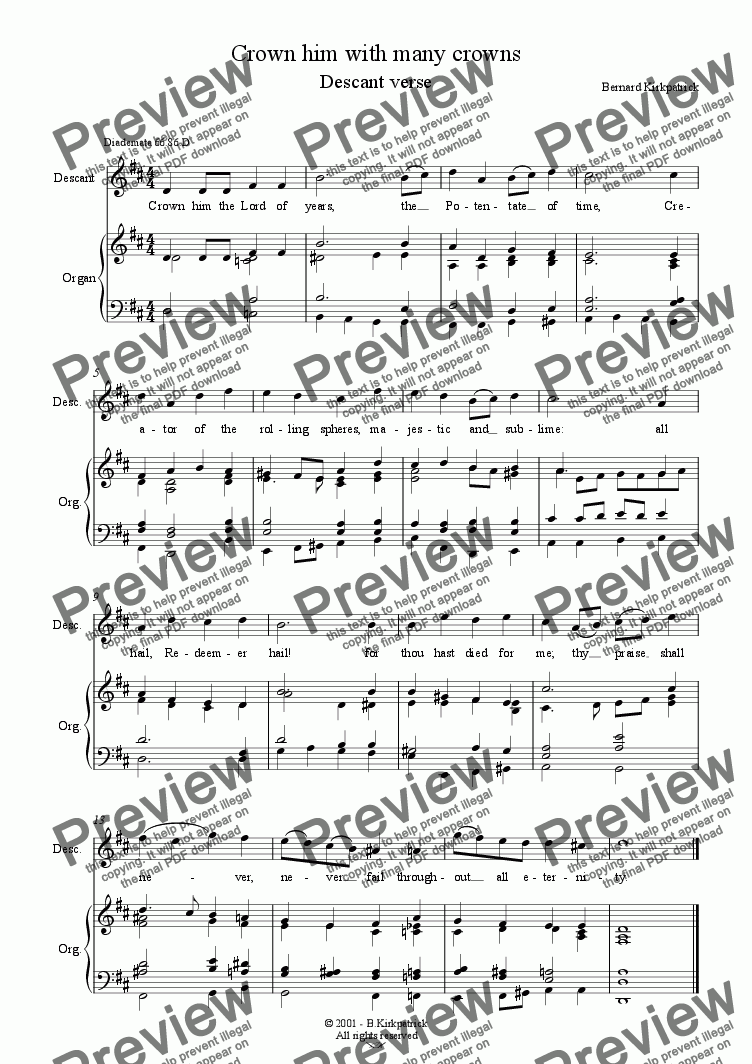 page one of Crown him with many crowns (Diademata) - Descant/Alt HarmonyASALTTEXT