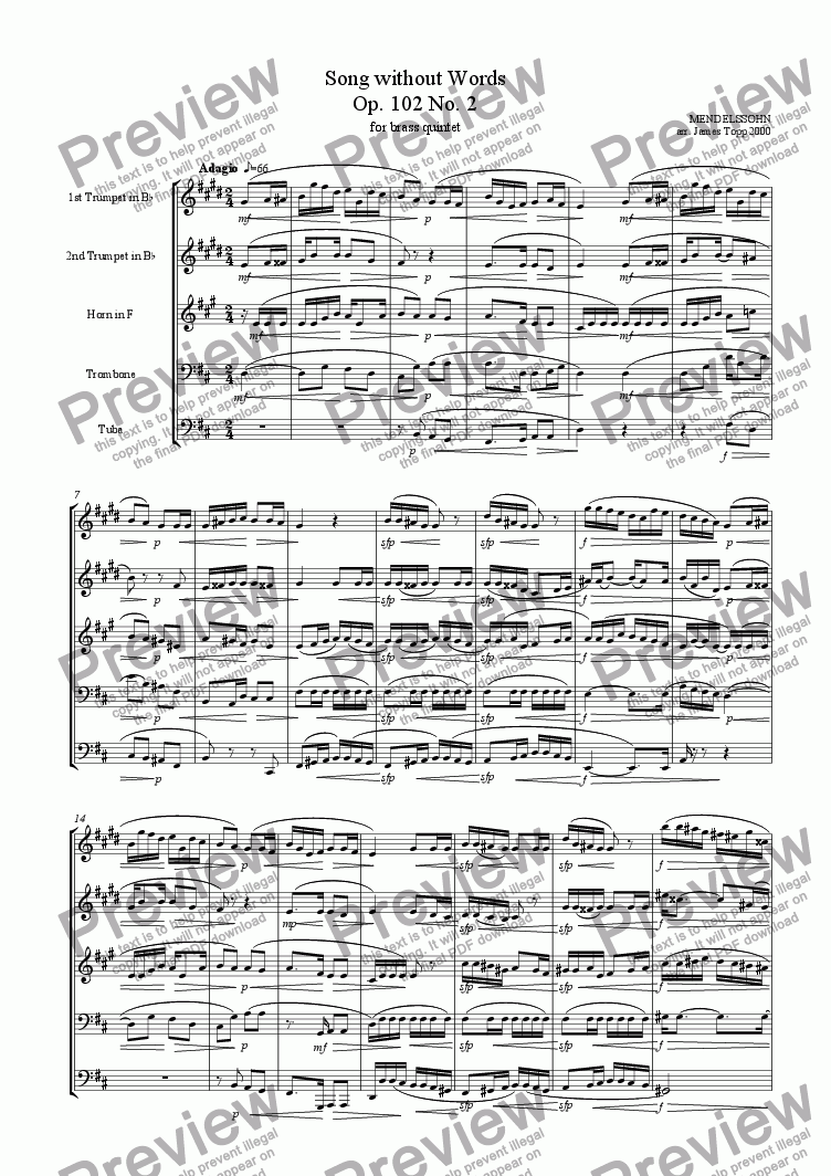 page one of Song Without Words Op. 102 No. 2