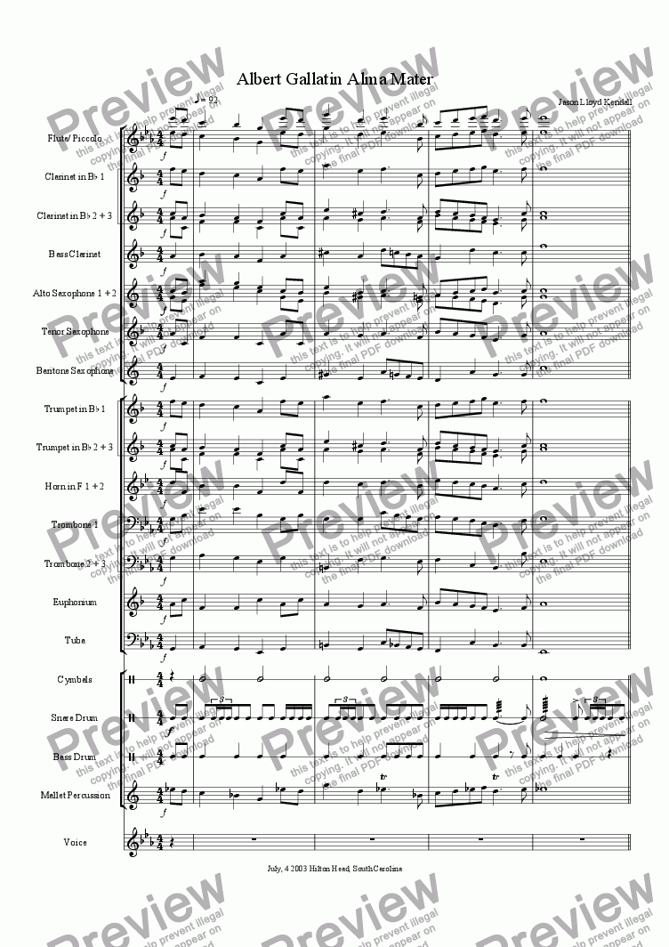 page one of Albert Gallatin Alma Mater  Band Arrangement