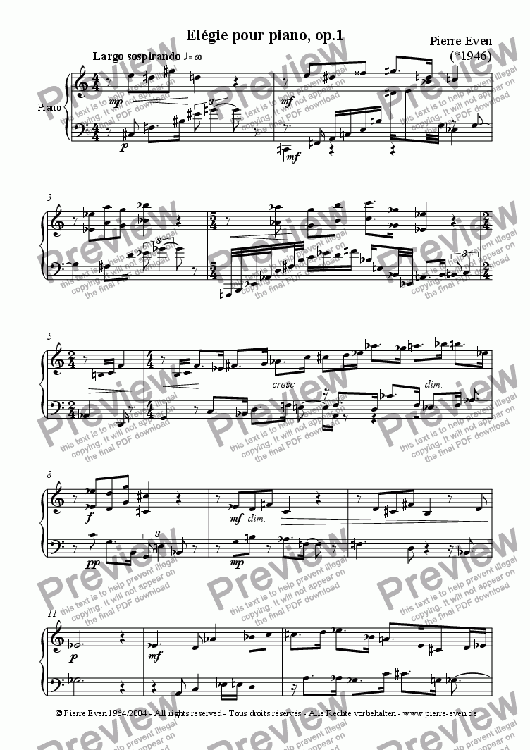 page one of Elégie - pour piano, op. 1