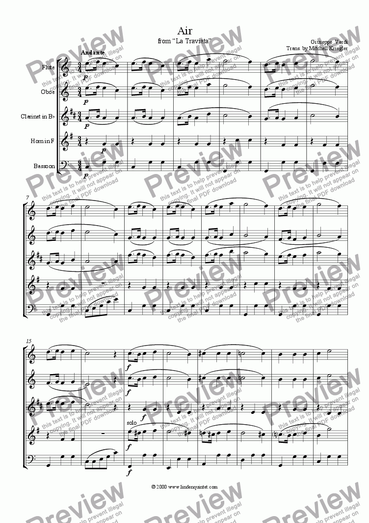 page one of Verdi - La Traviata Air