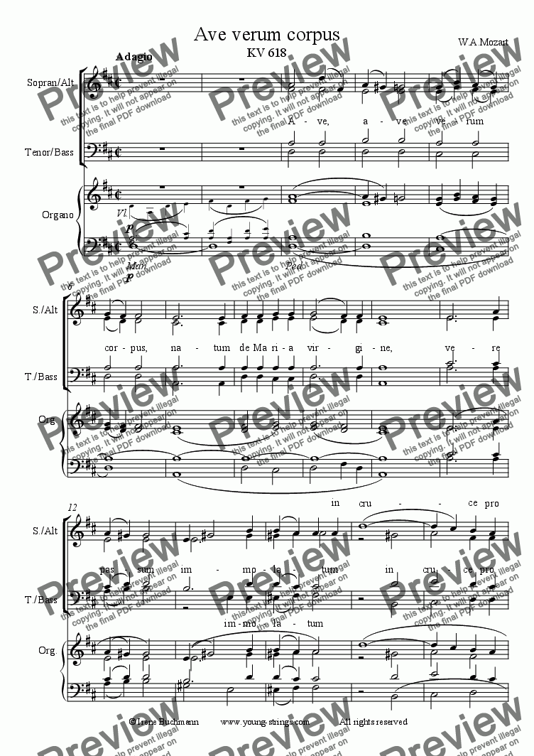 page one of Ave Verum, W.A.Mozart, Choir and Organ