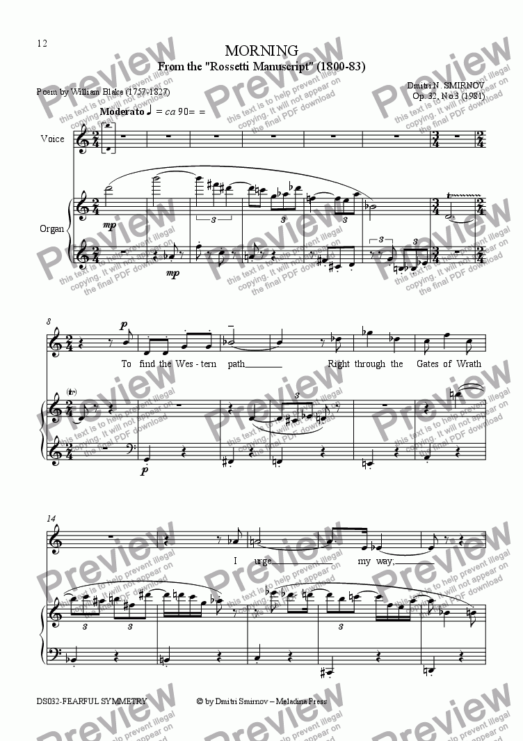 page one of FEARFUL SYMMETRY (Blake) op32/3. Morning. Voice, organ