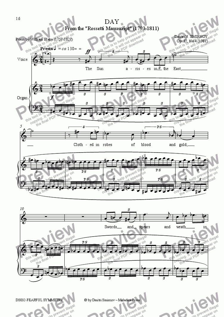 page one of FEARFUL SYMMETRY (Blake) op32a/4. Day. Voice, pf