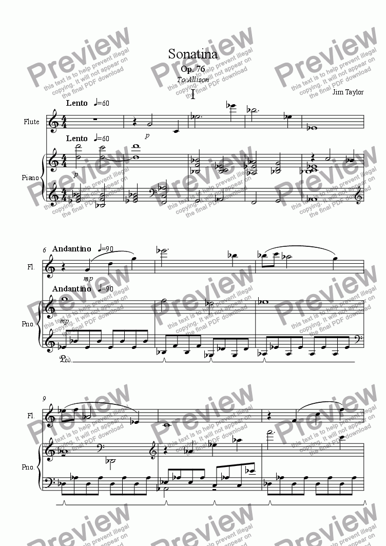 page one of Sonatina for Flute and Piano