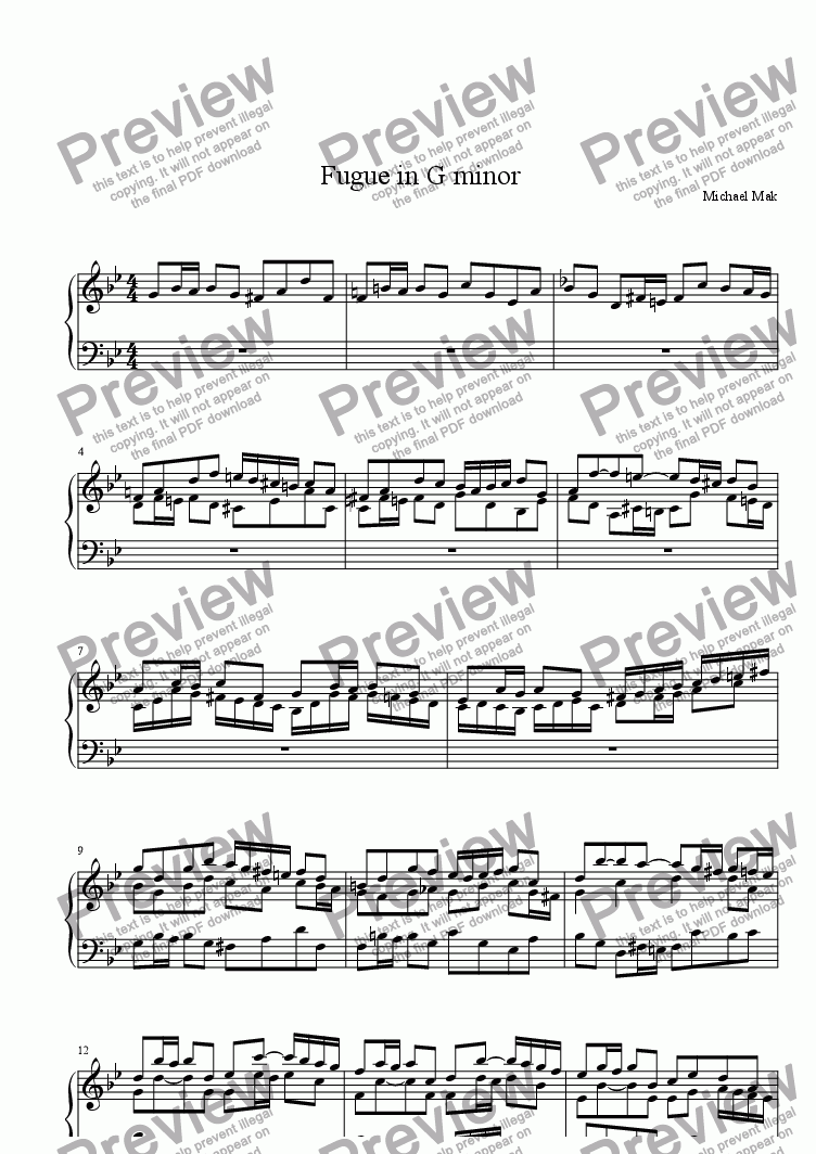 page one of Fugue in G minor