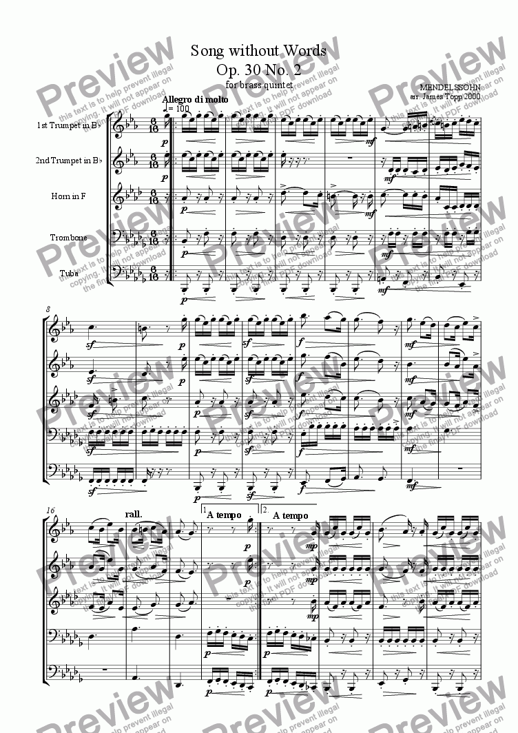 page one of Song Without Words Op. 30 No.2ASALTTEXT