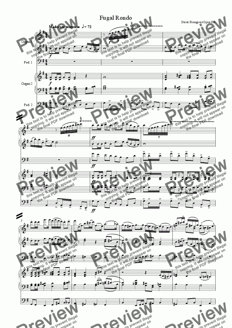 page one of Fugal Rondo for Organ Duet
