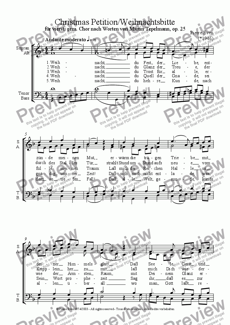 page one of Weihnachtsbitte (Christmas Petition) - for SATB-choir after a poem by Martin Tepelmann, op. 25 Nr. 1ASALTTEXT