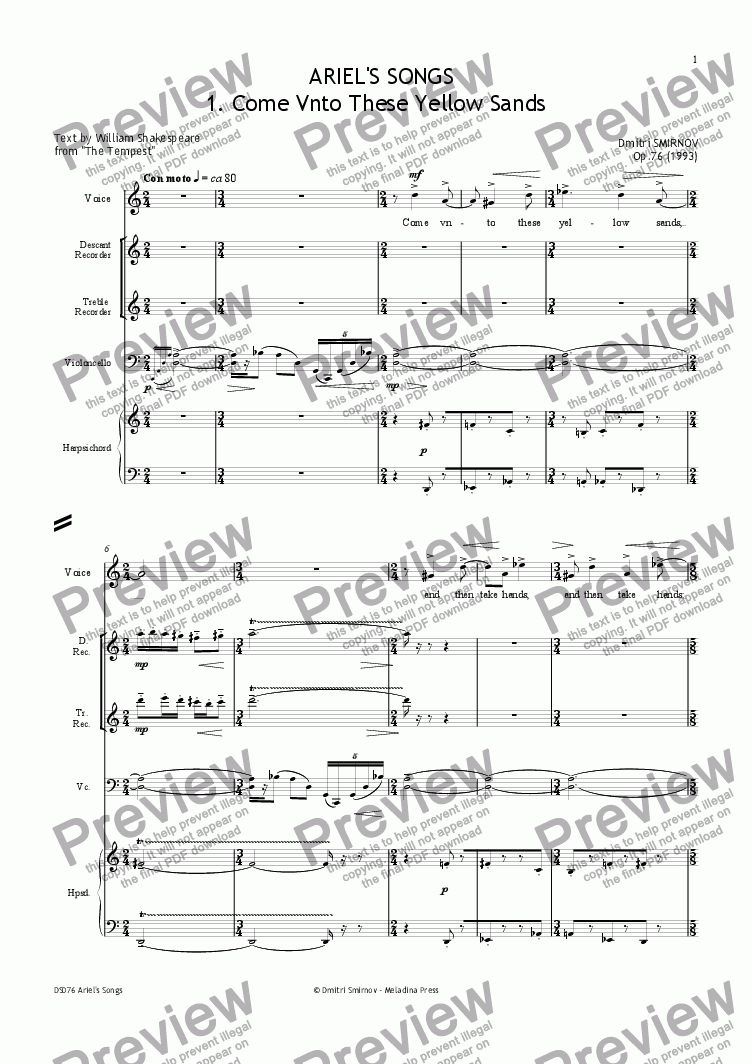 page one of ARIEL'S SONGS (Shakespeare) op76/1. Come Vnto. Voice, 2 rec, vlc, hrps