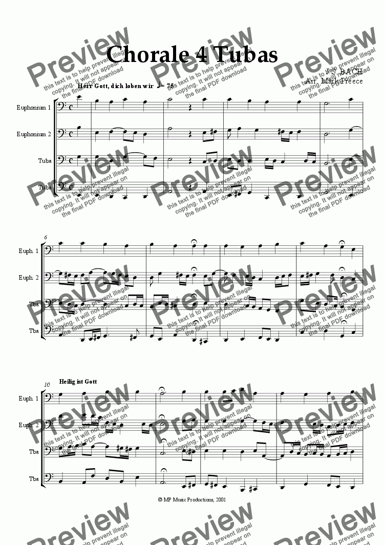 page one of Bach - Chorale 4 Tubas