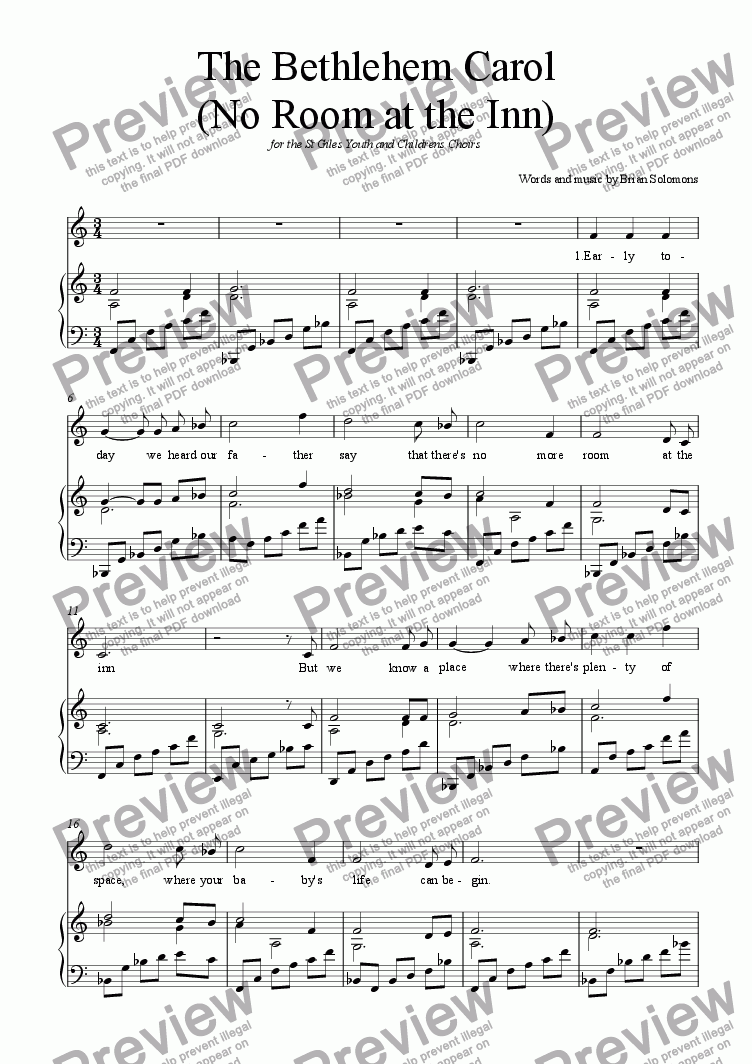 page one of The Bethlehem Carol