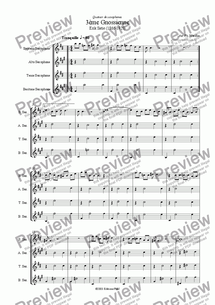 page one of Satie - Gnossienne n�3 (Sax Quartet)
