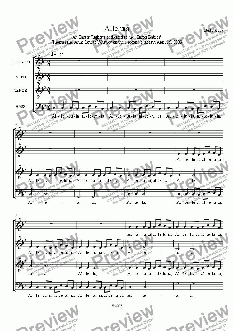 page one of Alleluia