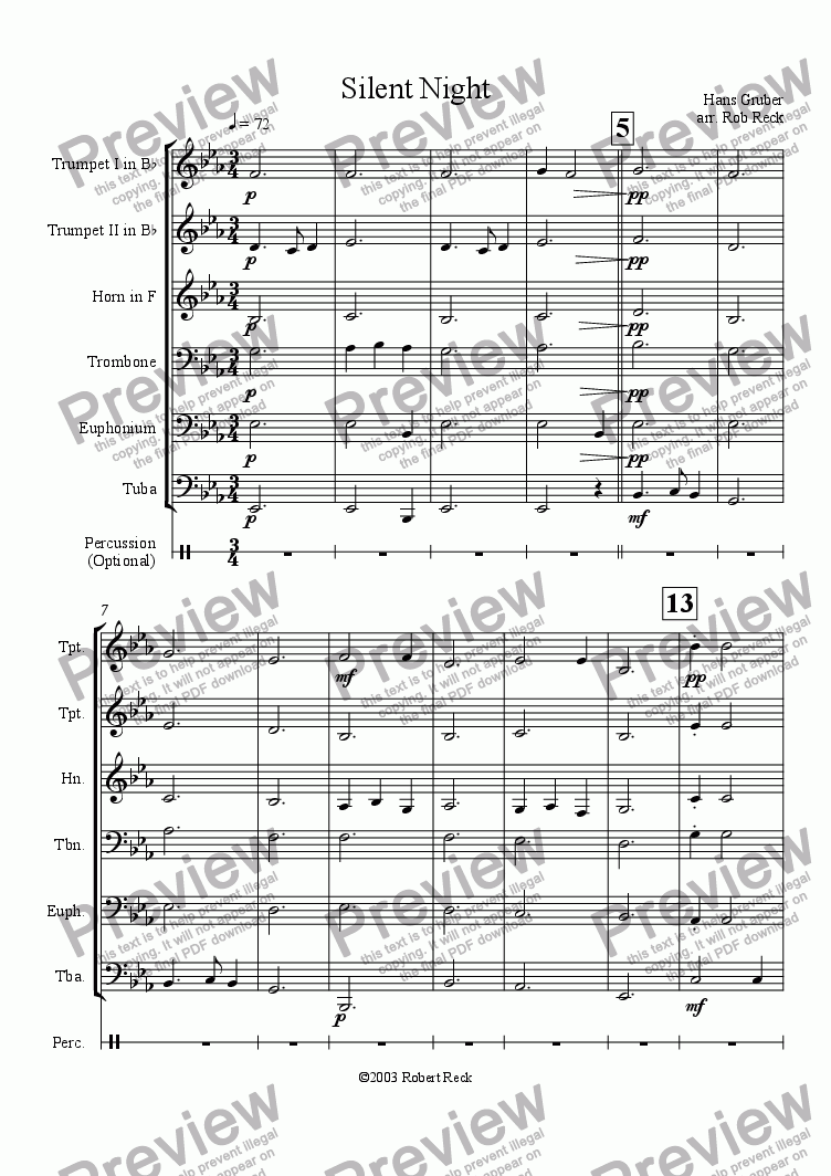 page one of Silent Night - Stille Nacht for Brass Sextet or  Brass Choir