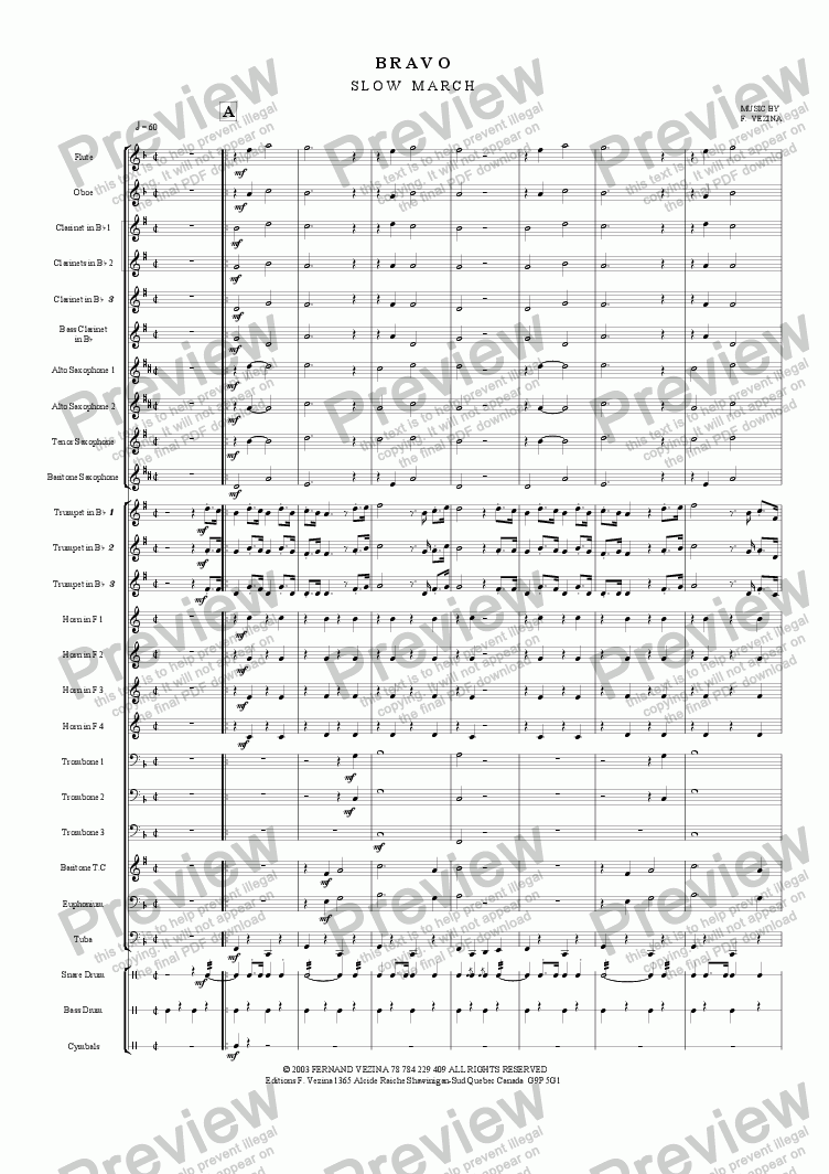 page one of Bravo (Slow March) for a Small Marching BandASALTTEXT