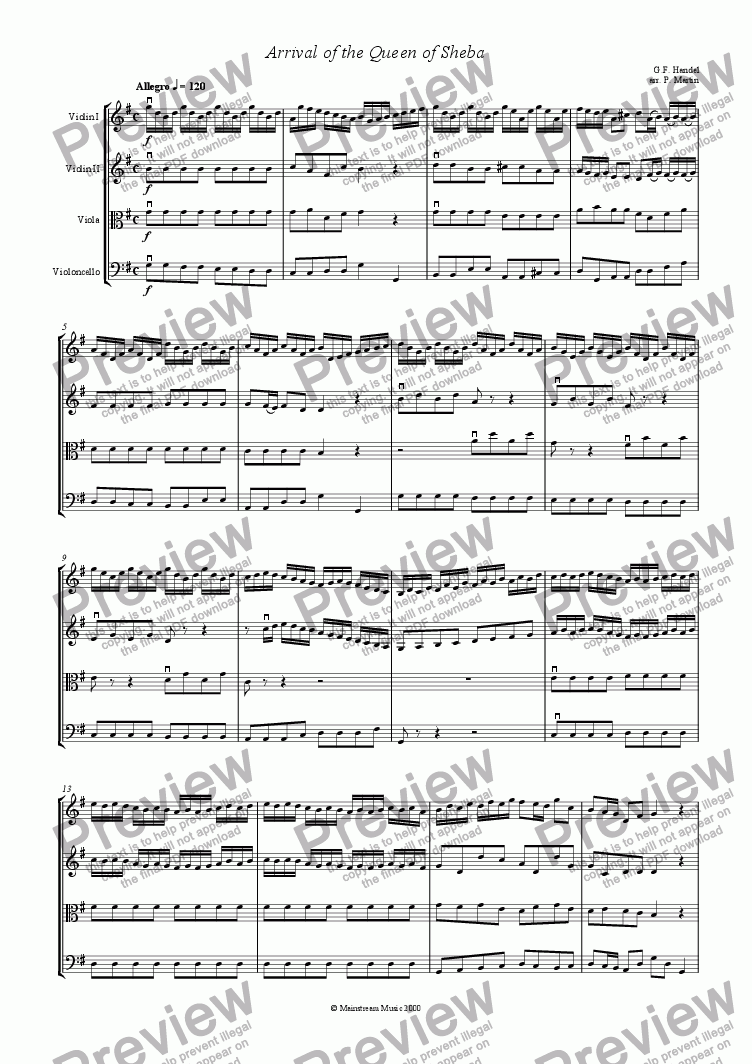 page one of Arrival of the Queen of Sheba - String Quartet/OrchestraASALTTEXT