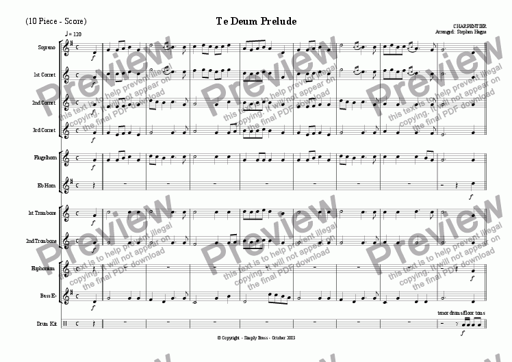 page one of Te-Deum Prelude