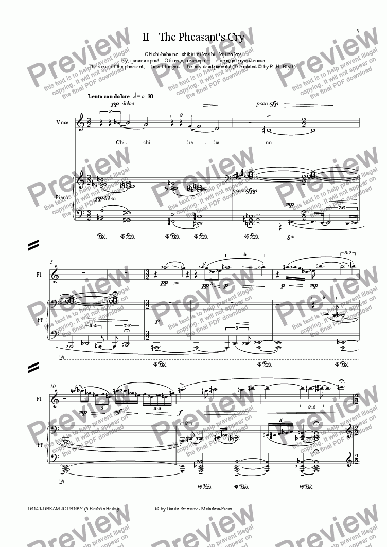 page one of OLD POND (Basho) op140a/2. Pheasant Cry. Voice, fl, pf