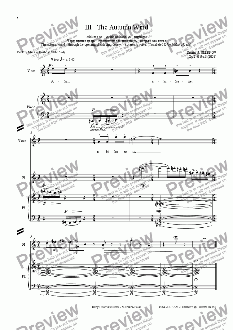 page one of OLD POND (Basho) op140a/3. Autumn Wind. Voice, fl, pf