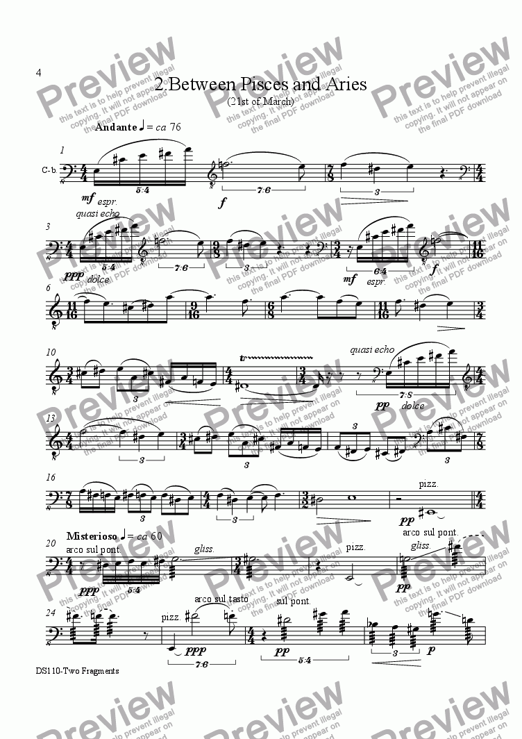 page one of 2 FRAGMENTS op110/2. Between Pisces and Aries. Db solo