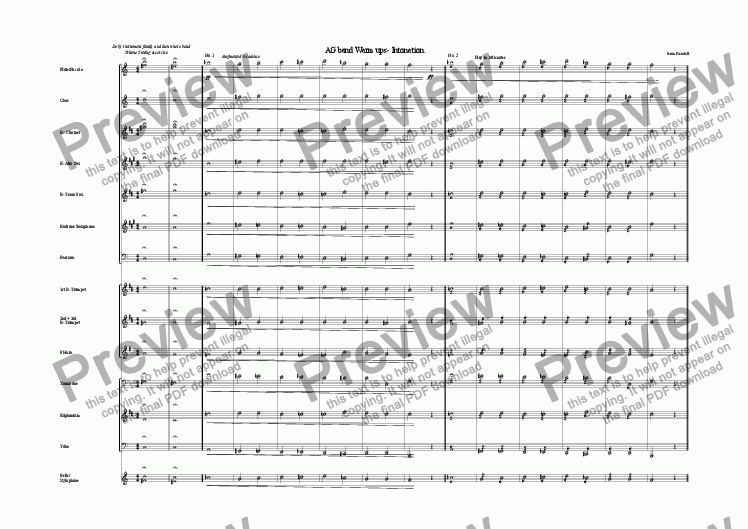 AAA Warm Up for Concert Band for Marching band by Jason Kendall - Sheet  Music PDF file to download