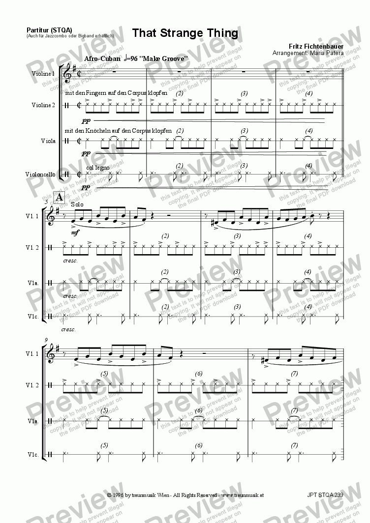 page one of That Strange Thing (STQA/Score & Parts)