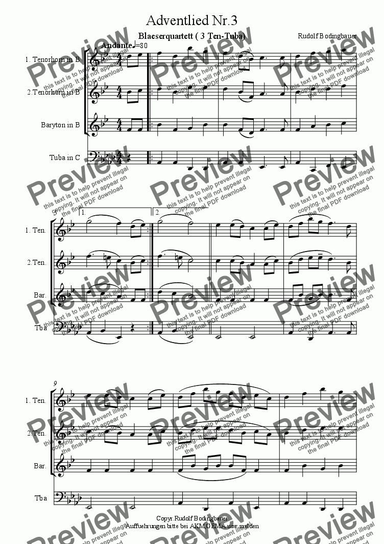 page one of Adventlied Nr.3  (3Ten-Tuba)ASALTTEXT