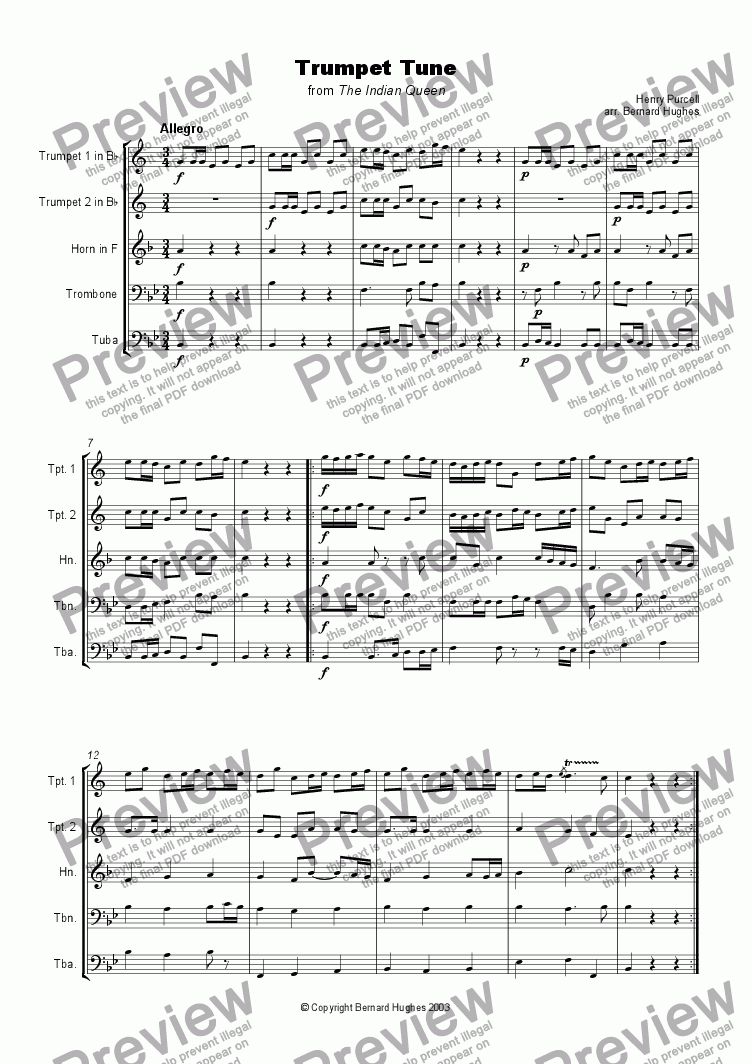 page one of Trumpet Tune from 'The Indian Queen'