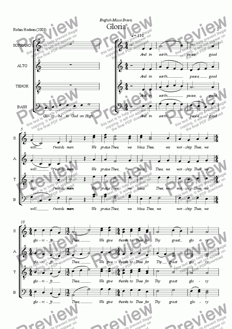 page one of English Missa Brevis - Gloria