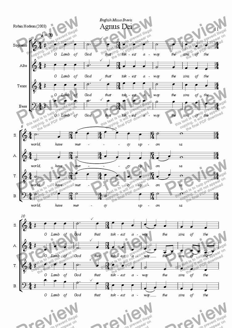 page one of English Missa Brevis - Agnus Dei