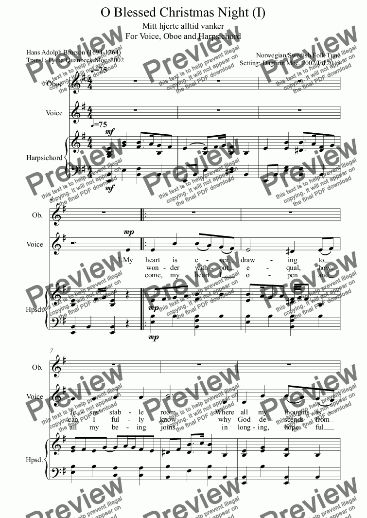 page one of O Blessed Christmas Night (I)  (Voice, Oboe, Harpsichord)