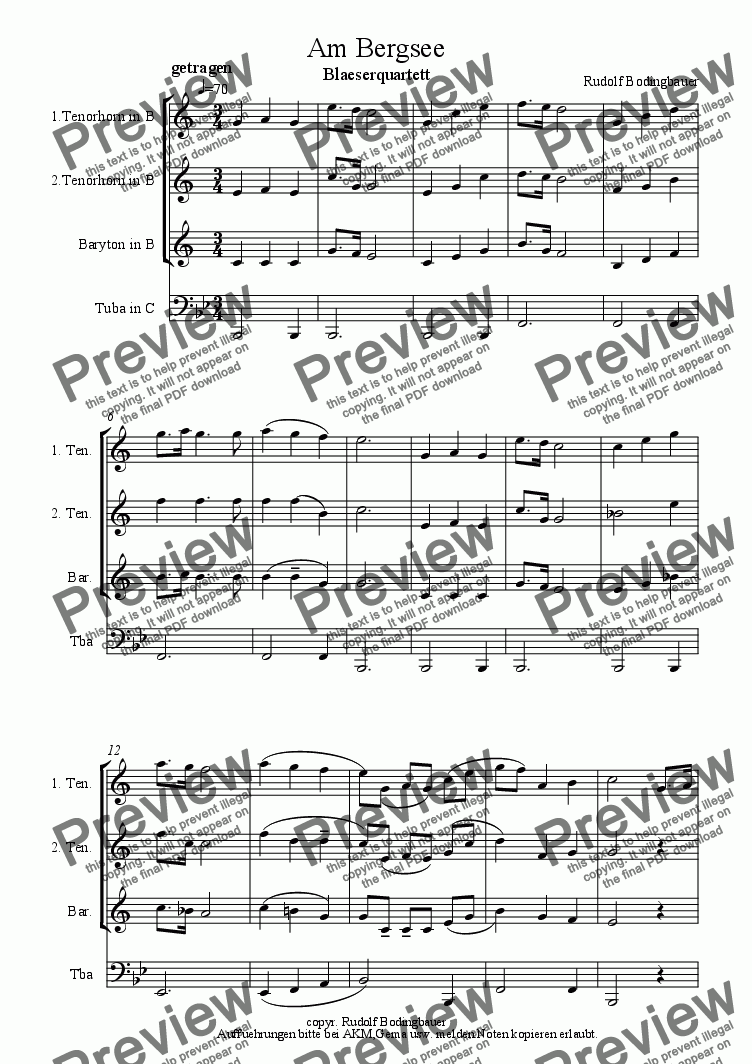 page one of Am Bergsee  ( 3Tenh.-Tuba)