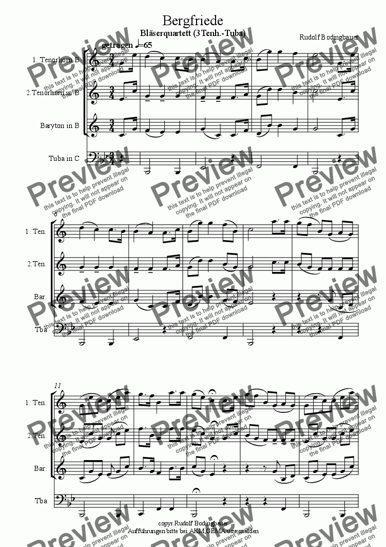 page one of Bergfriede  (3 Tenh.-Tuba)