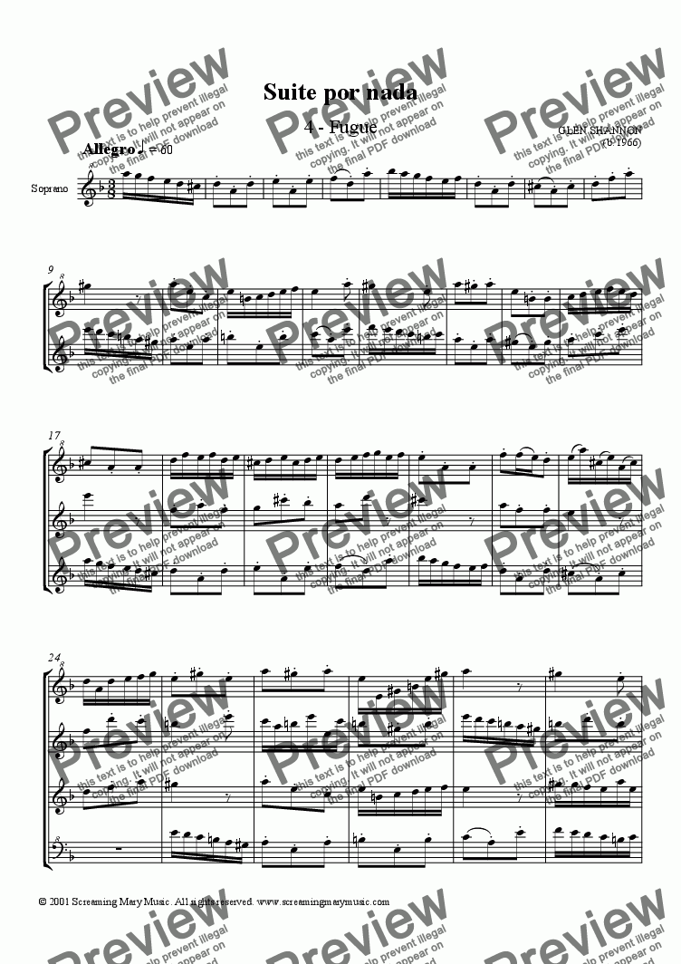 Suite Por Nada: 4  Fugue SATB Recorders for Quartet of Soprano Recorders by  Glen Shannon - Sheet Music PDF file to download