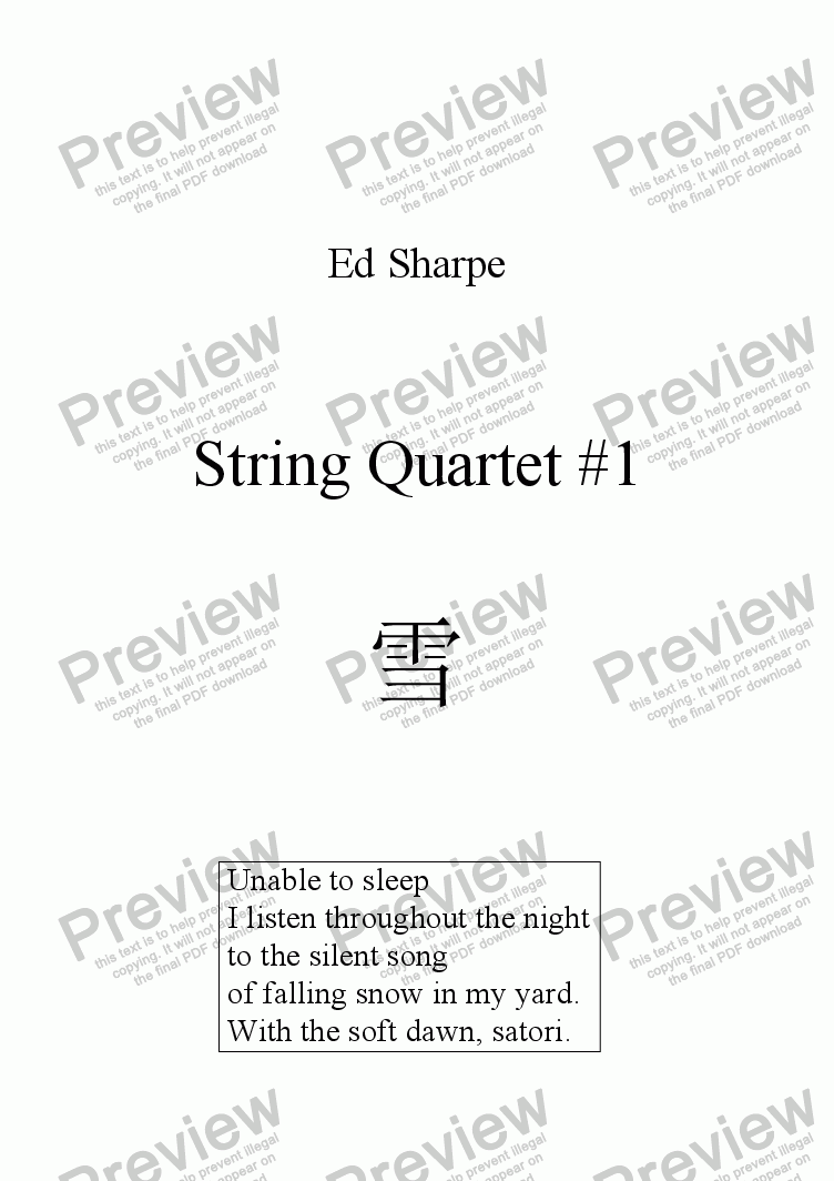 page one of String Quartet #1ASALTTEXT