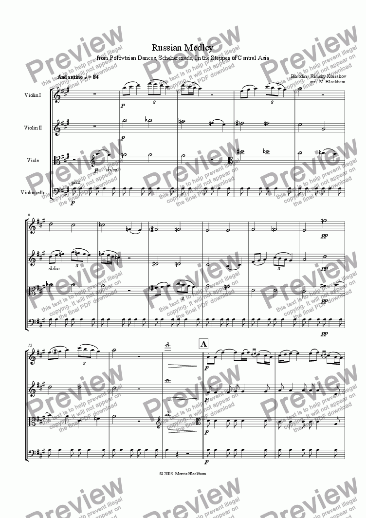 page one of Russian Medley