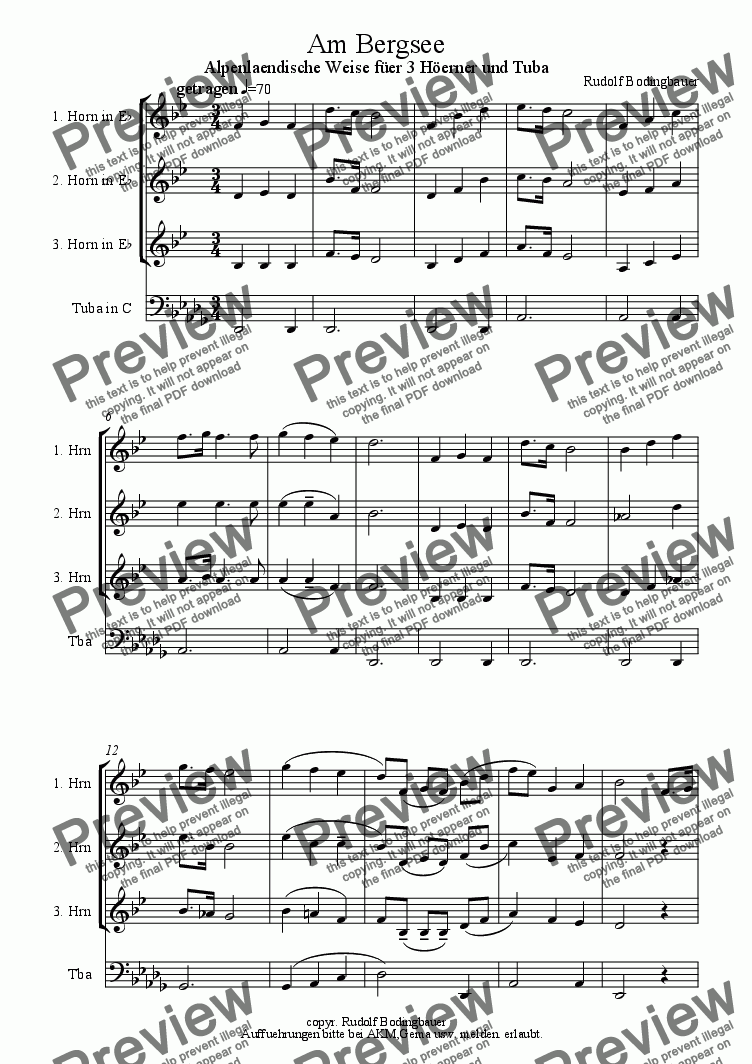 page one of Am Bergsee  ( 3 Hoerner-Tuba )