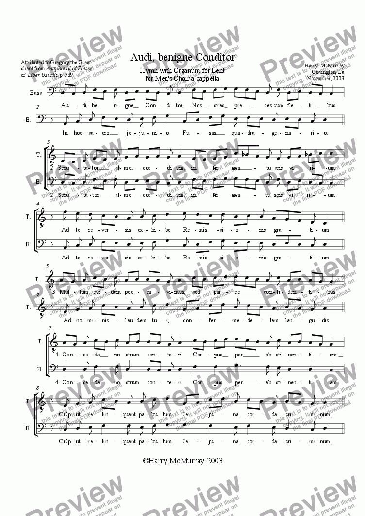 "page one of Hymn for Lent ""Audi benigne Conditor"""