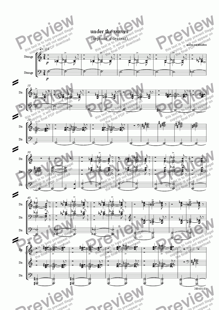page one of neptune's descent - under the waves (short score)