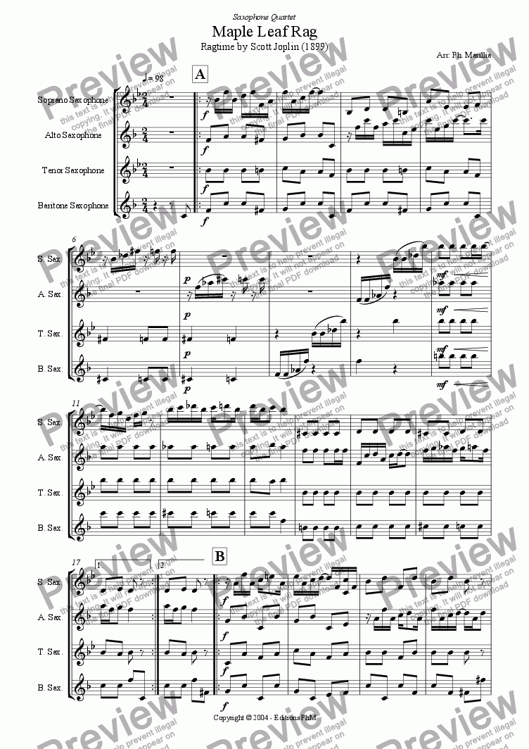 page one of Joplin - Maple Leaf Rag - Ragtime (Sax Quartet)