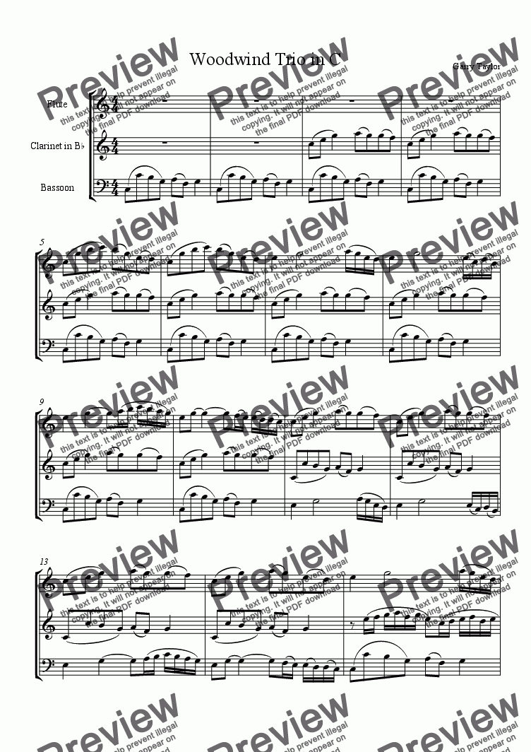 page one of Woodwind Trio in C