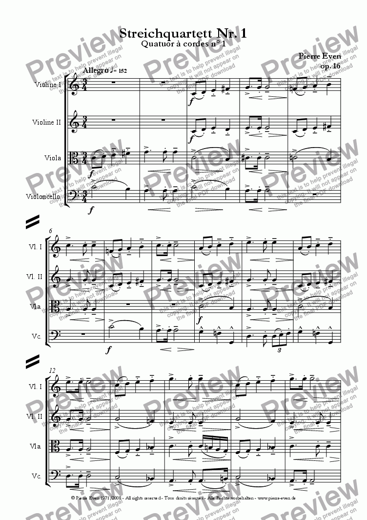 page one of String Quartet/Quatuor à cordes, op. 16