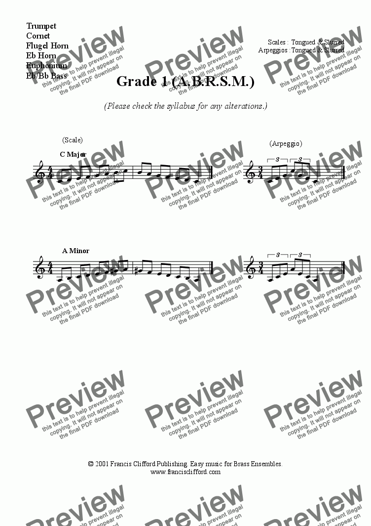 page one of Grade 1 ABRSM Scales for Trumpet, Eb Horn, Euph, etcASALTTEXT