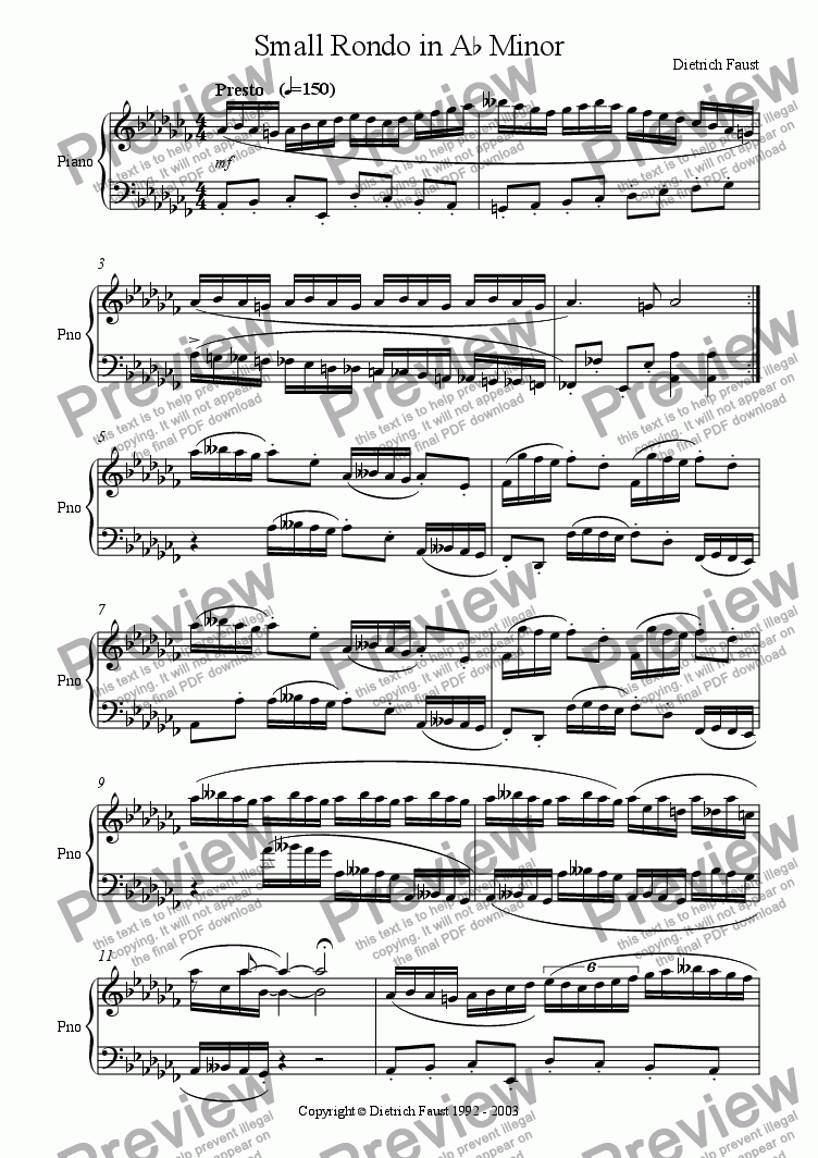 page one of Small Rondo in A Flat Minor