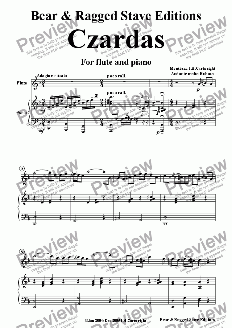 page one of Czardas for flute and pianoASALTTEXT