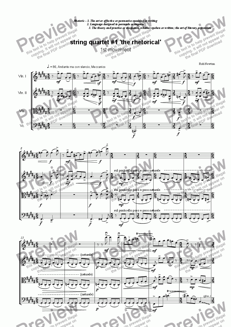 page one of String Quartet #1 'the rhetorical' Mvt.1.