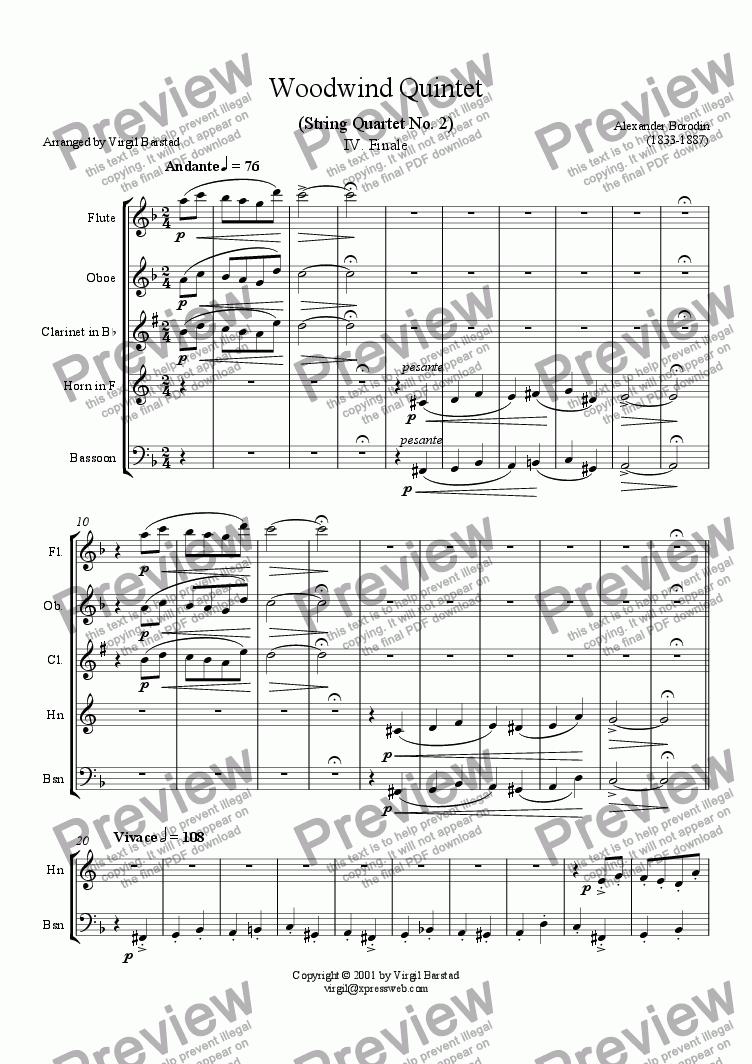 page one of Borodin Wind Quintet - 4