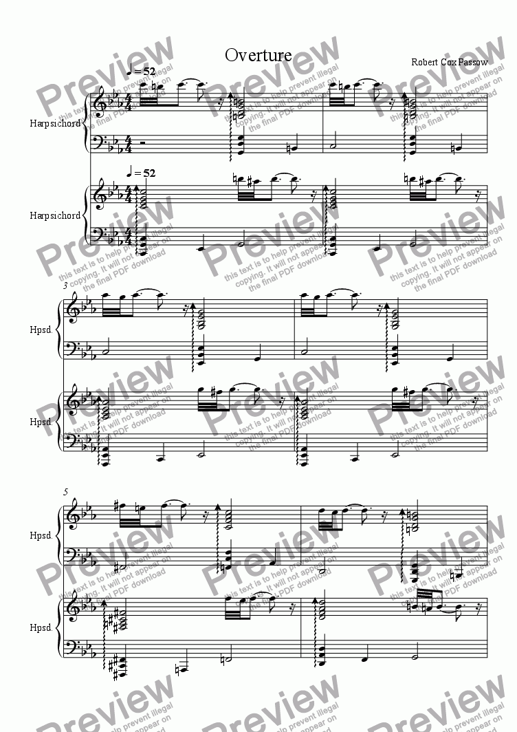 page one of Overture for Two Harpsichords