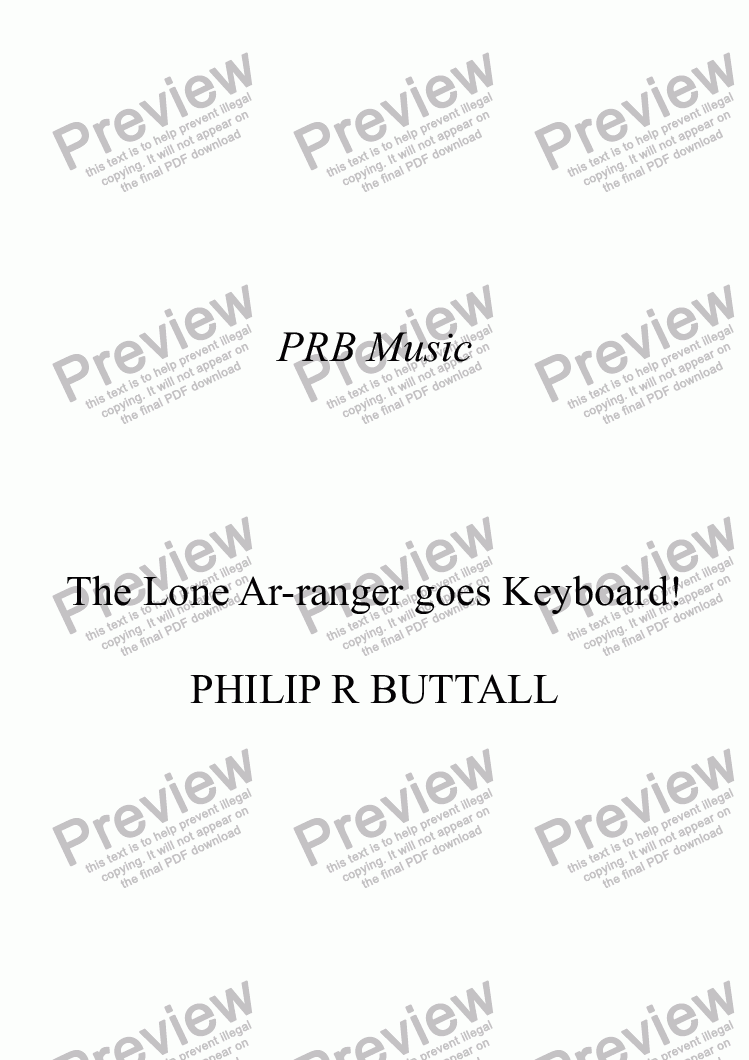 page one of The Lone Ar-ranger goes Keyboard!